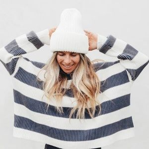 Free People Just My Stripe Cropped Sweater Striped